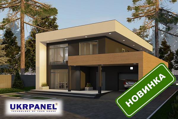 Двухэтажный дом из сип панелей. Проект СИП ДОМ #44 UKRPANEL